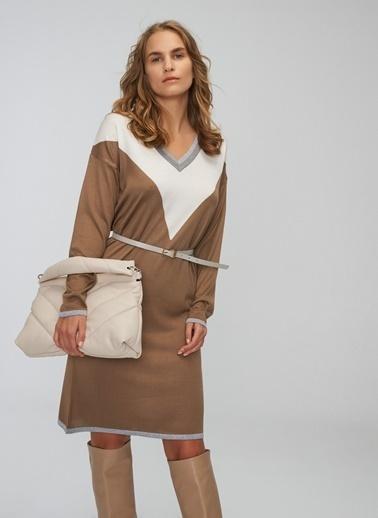 People By Fabrika Sim Detaylı Triko Elbise Vizon